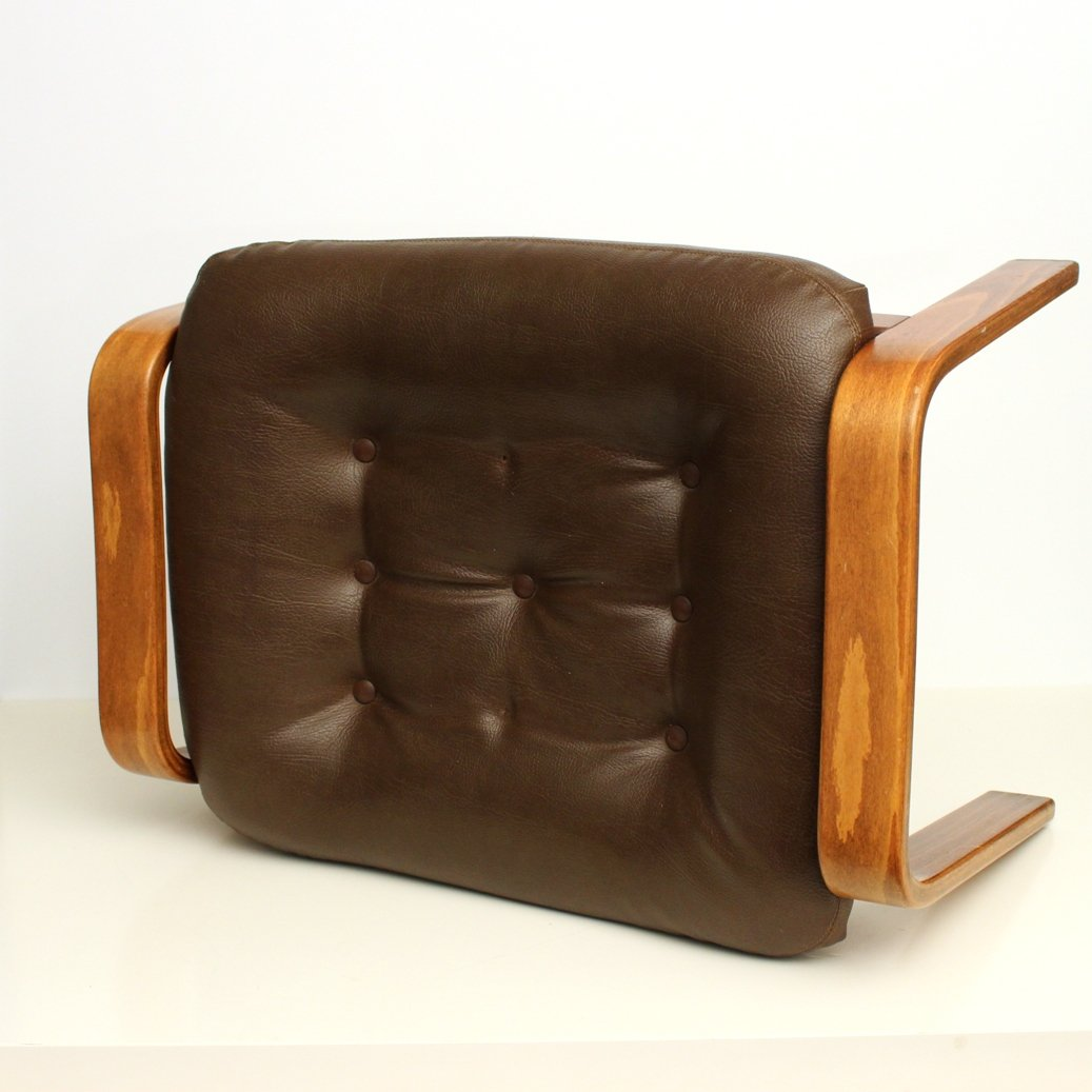 Vintage Ottoman In Brown Leather From G Te M Bler 1970s