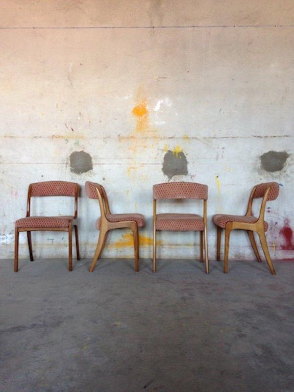Sedie vintage in teak e velluto scandinavia set di 6 in for Sedie design velluto