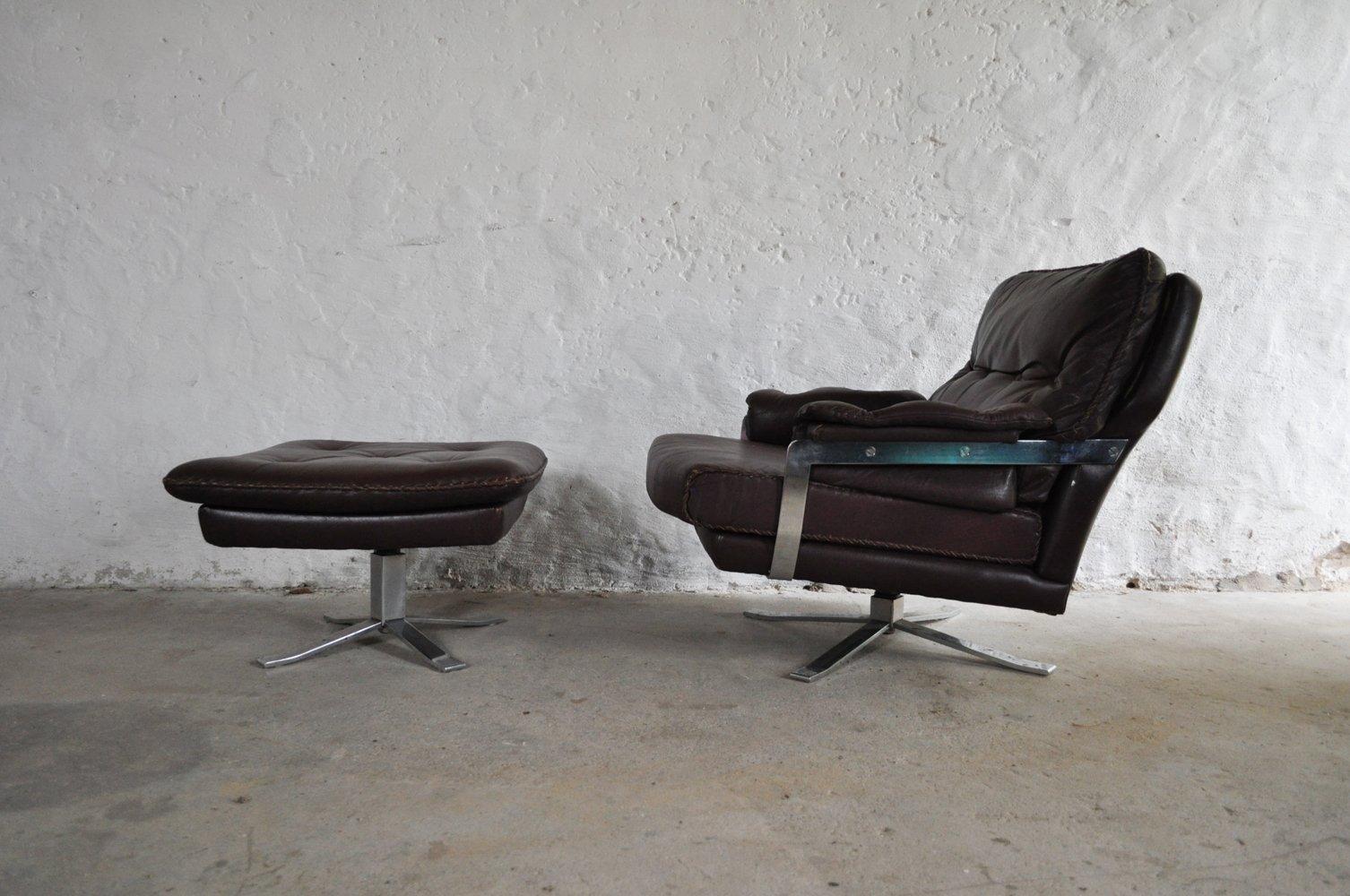 Rotbrauner vintage sessel aus leder chrom mit hocker von for Sessel mit hocker leder
