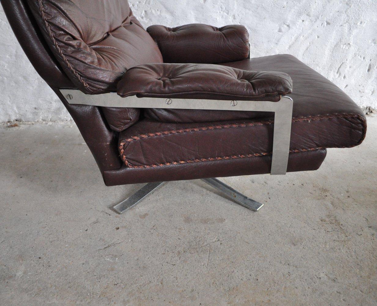 rotbrauner vintage sessel aus leder chrom mit hocker von. Black Bedroom Furniture Sets. Home Design Ideas