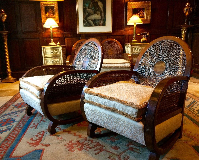 Art deco nussholz bergere wohnzimmer set 1930er bei for Wohnzimmer set