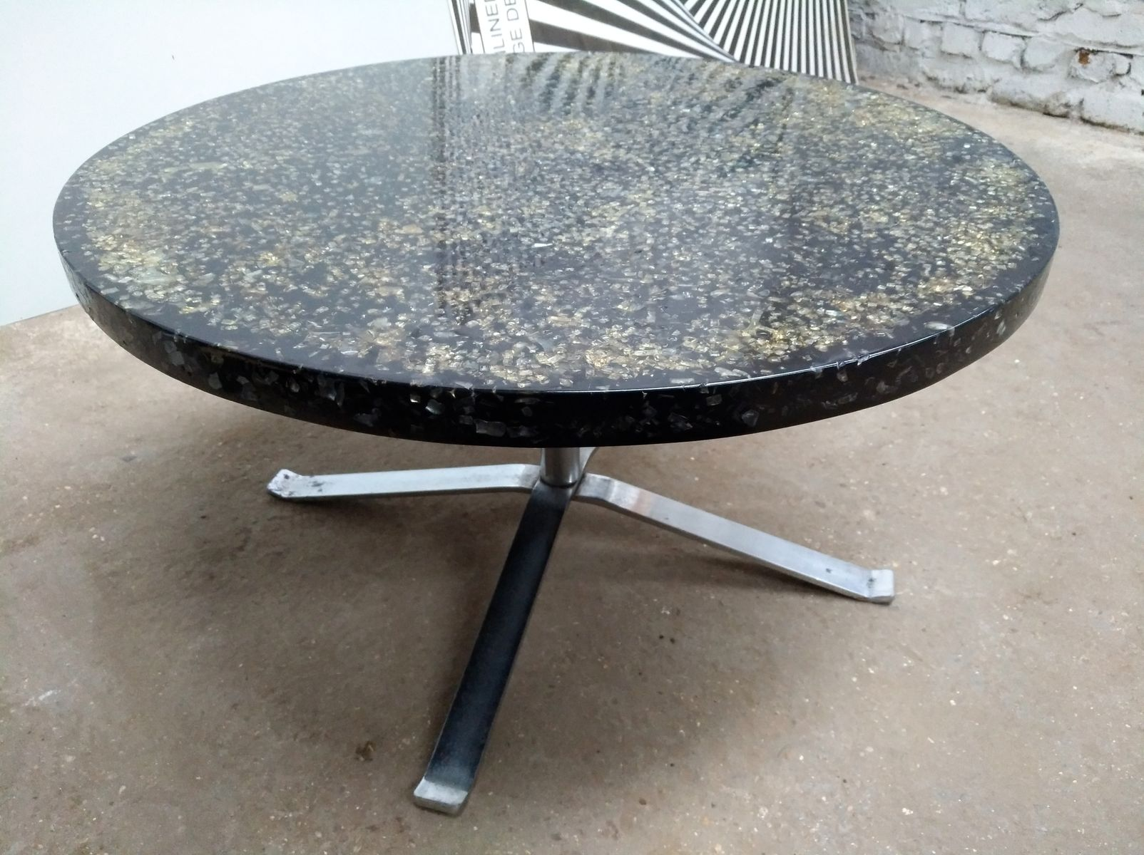 Round Black Resin Coffee Table by Pierre Giraudon 1970s for sale