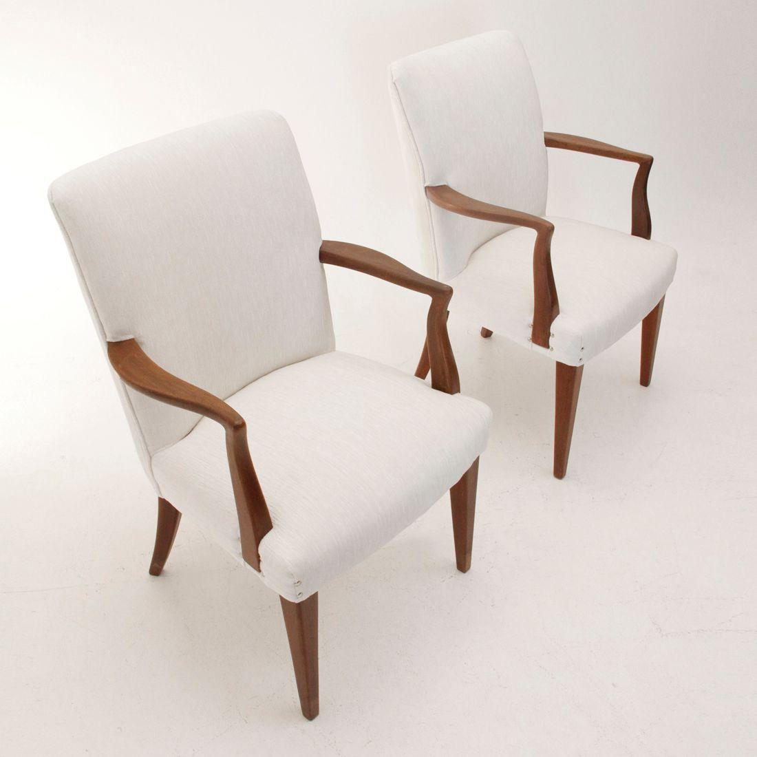 chaises en velours blanc et en teck 1950s set de 6 en. Black Bedroom Furniture Sets. Home Design Ideas
