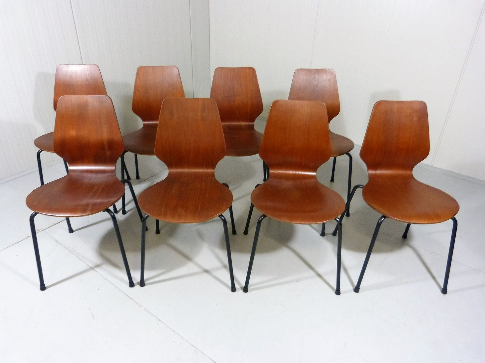 danish teak plywood stackable chairs 1960s set of 8