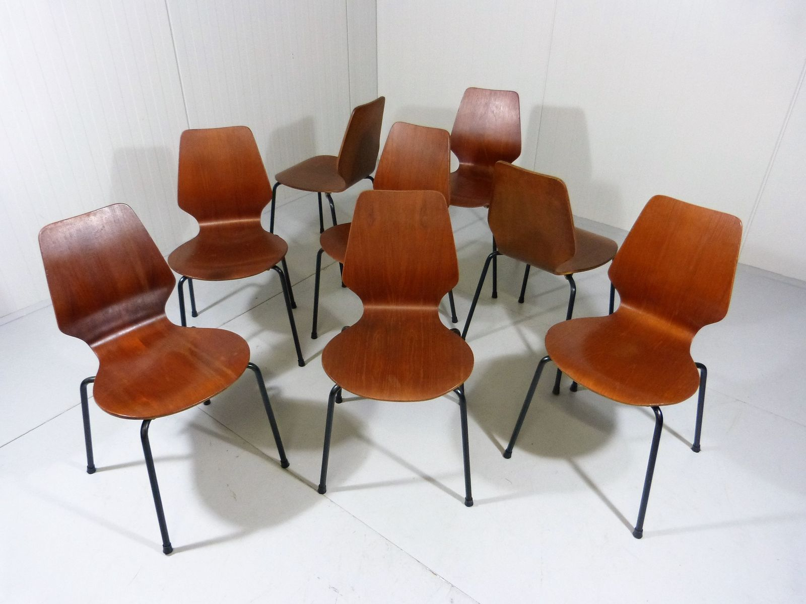 Danish Teak Plywood Stackable Chairs 1960s Set of 8 for sale at