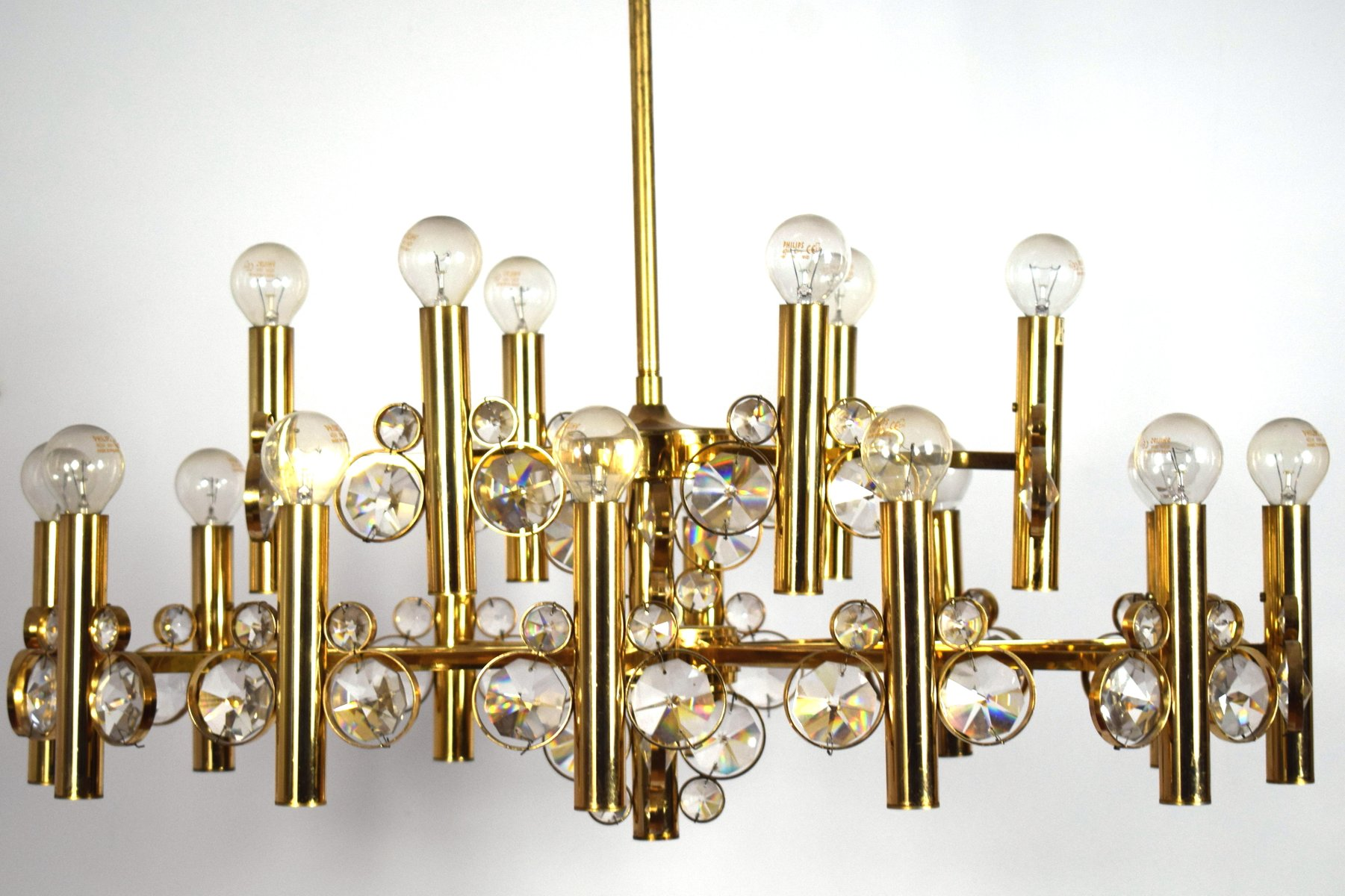 Large EighteenArm GoldPlated Brass Chandelier 1970s for sale at – Large Brass Chandelier