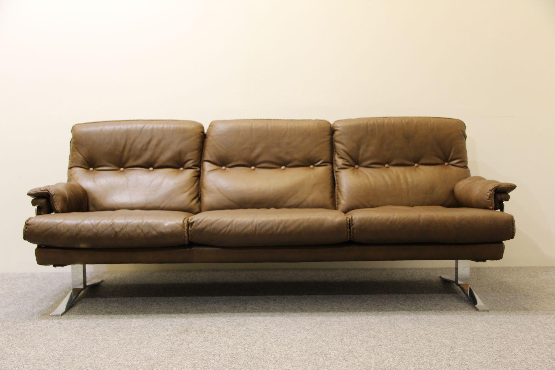 Danish Brown Buffalo Leather Sofa Arne Norell for sale at Pamono