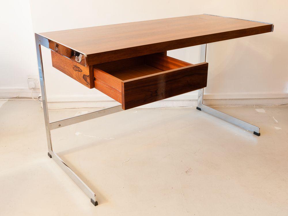 schreibtisch aus palisander chrom von david folker f r. Black Bedroom Furniture Sets. Home Design Ideas