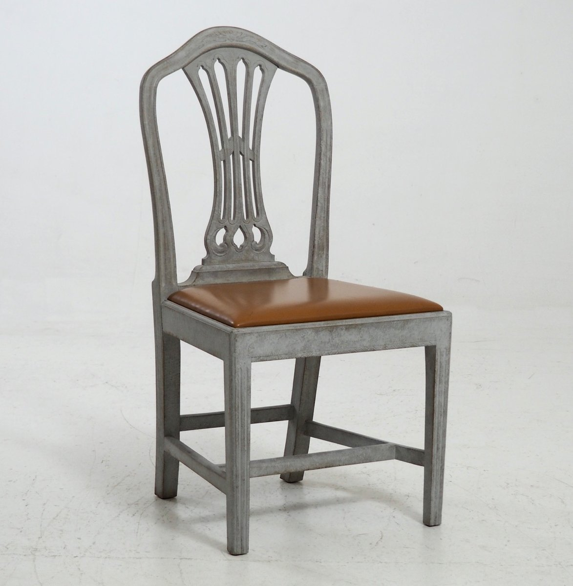 19th century chairs with leather seats set of 8 for sale