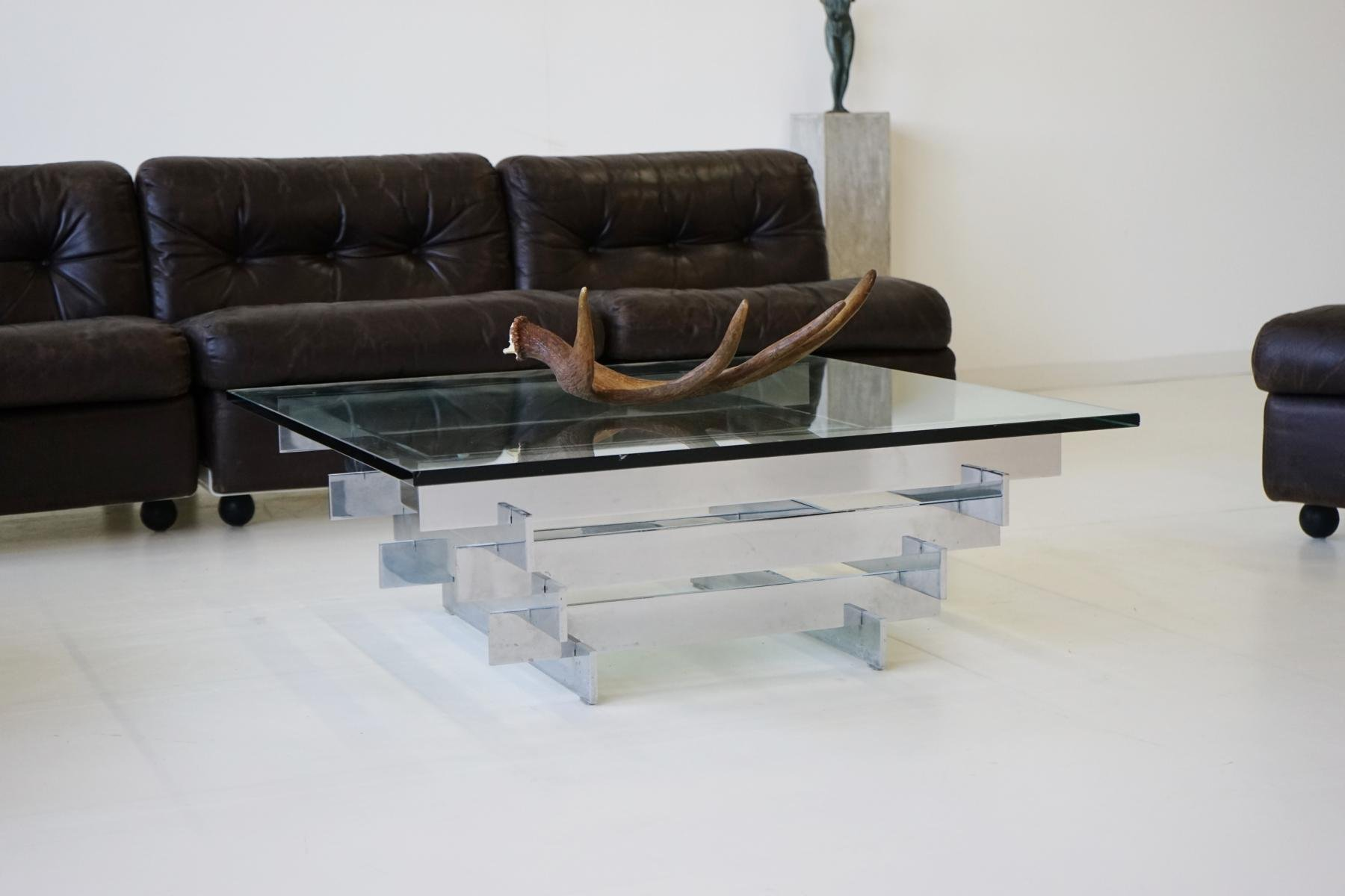 Vintage glass chrome coffee table by zaruch for sale at pamono vintage glass chrome coffee table by zaruch geotapseo Image collections