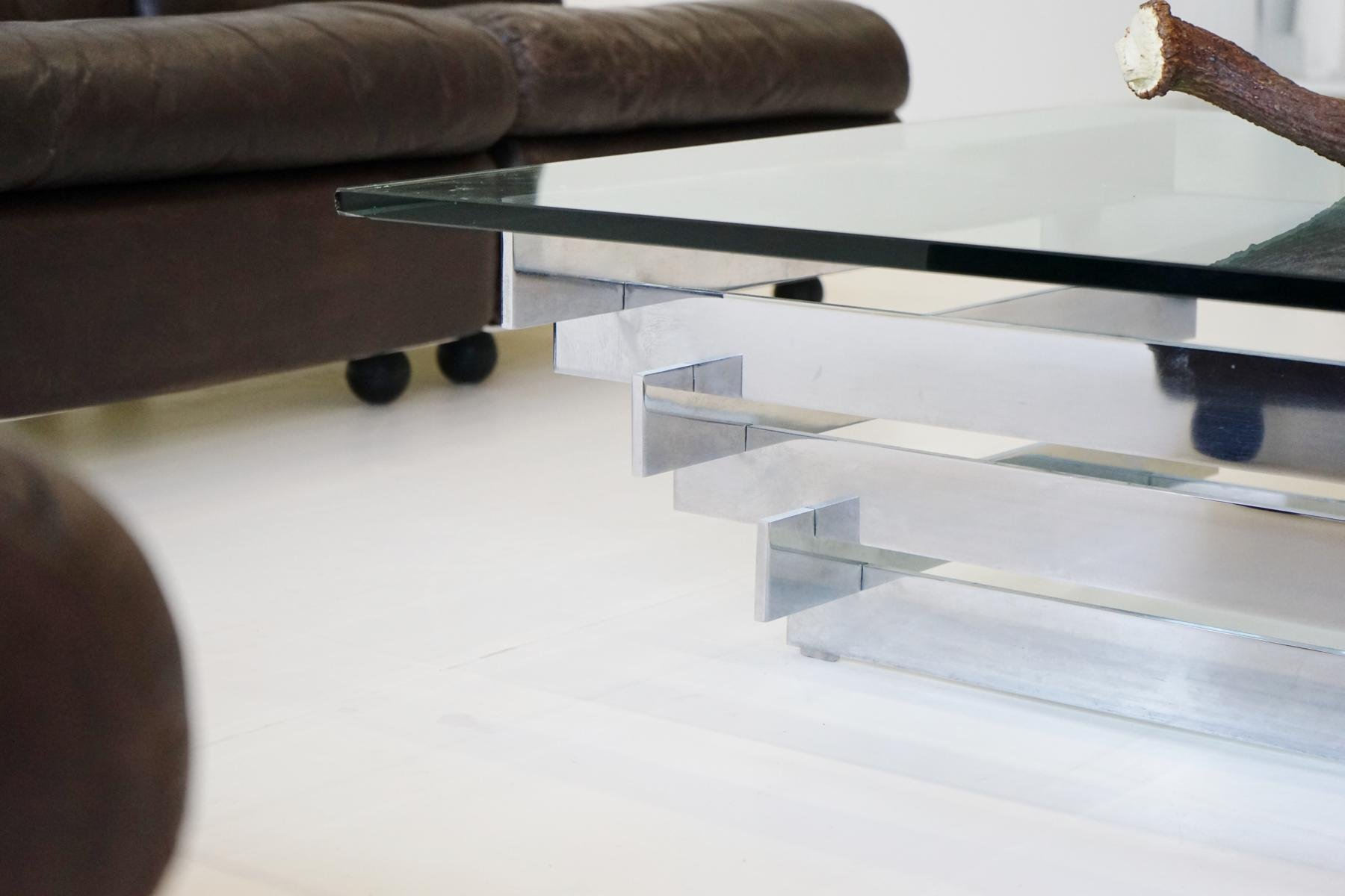 Vintage Glass & Chrome Coffee Table by Zaruch for sale at Pamono