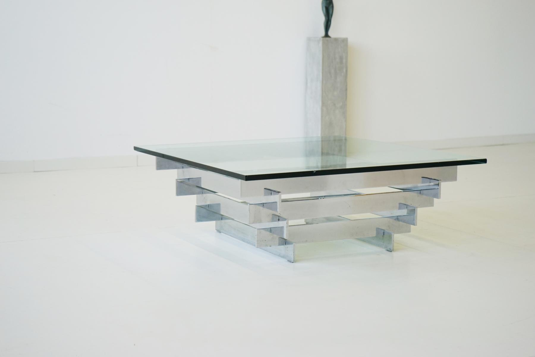Vintage glass chrome coffee table by zaruch for sale at for Table verre 6 personnes
