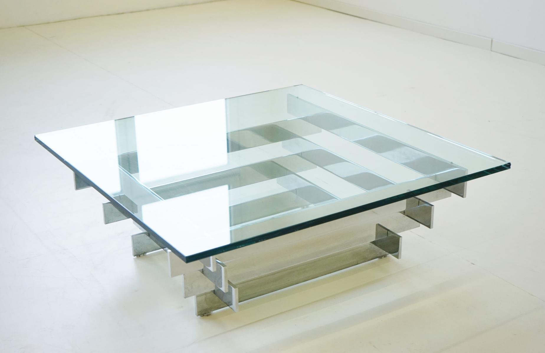 Vintage Glass Chrome Coffee Table by Zaruch for sale at Pamono