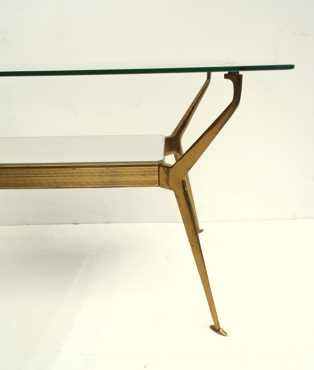 Italian Brass Glass Coffee Table 1950s For Sale At Pamono
