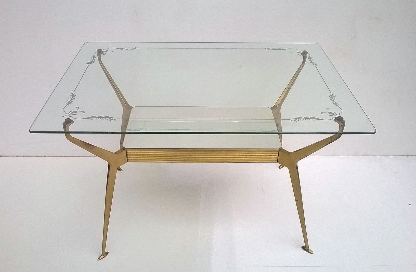 Italian Brass Glass Coffee Table 1950s