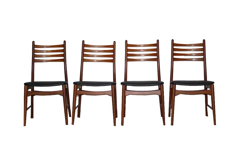 Scandinavian Teak Ladder Back Dining Chairs 1960s Set of 4 for
