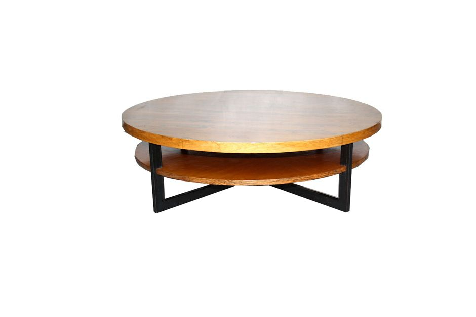 Round Rosewood Teak Metal Coffee Table 1960s For Sale At Pamono