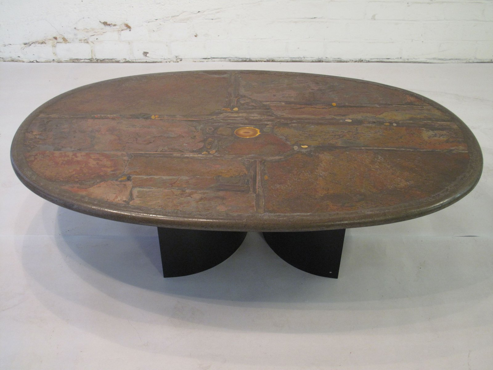 stone shale brass copper and agate coffee table by paul kingma 1990 for sale at pamono. Black Bedroom Furniture Sets. Home Design Ideas