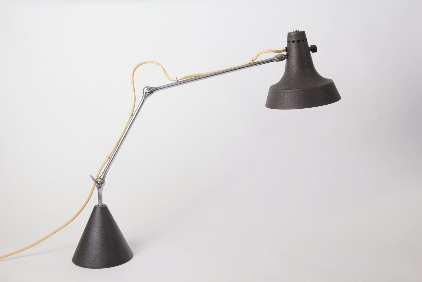 Vintage Black Lacquered Steel & Chrome Desk Lamp for sale at Pamono