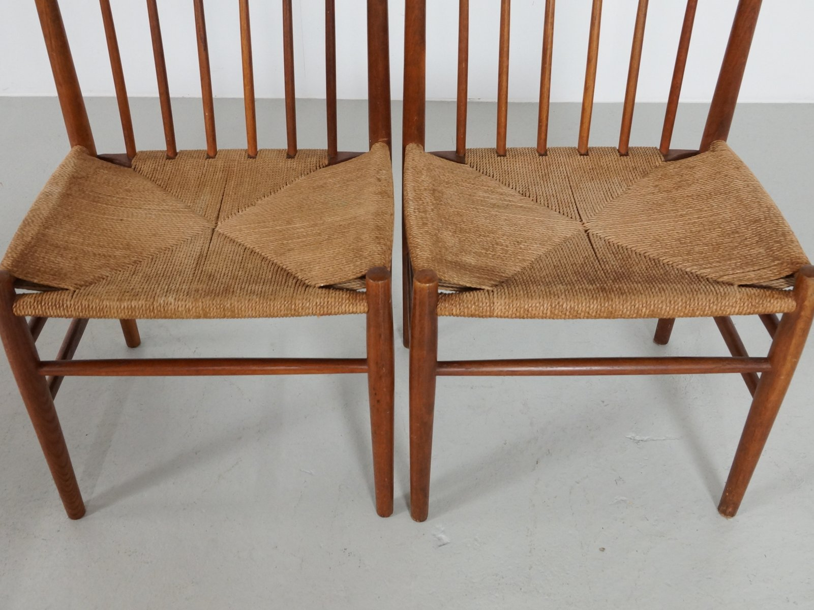 Scandinavian Dining Chairs in Oak and Paper Cord by J¸rgen B¦kmark