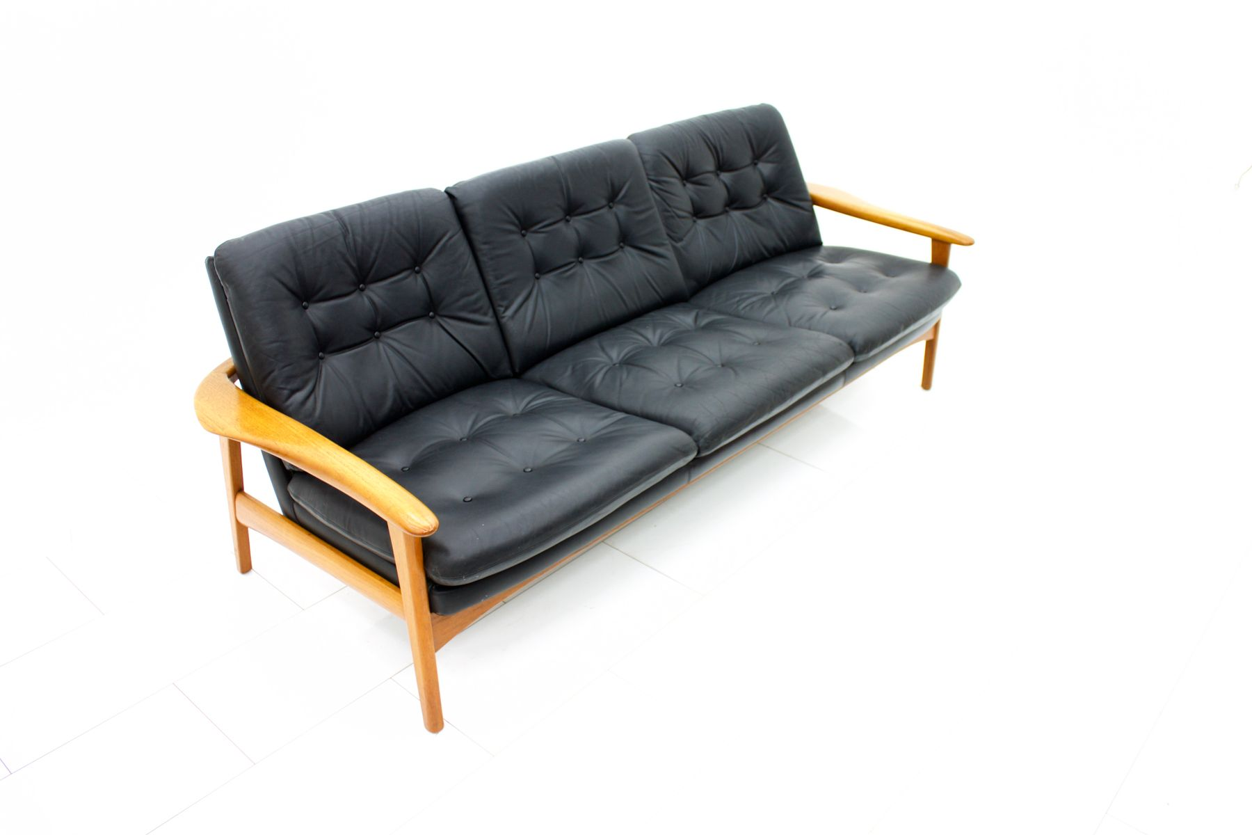 Danish Modern Teak and Leather Sofa 1960s for sale at Pamono