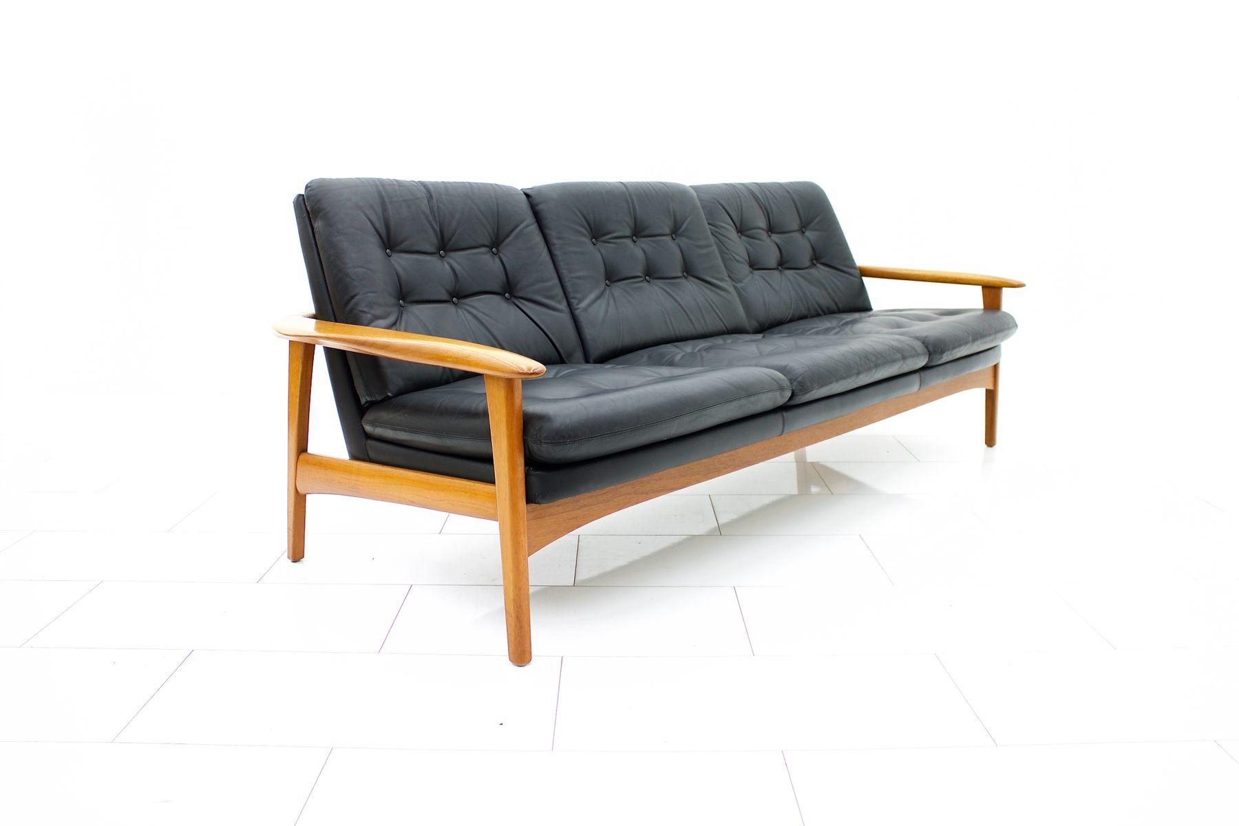 Danish Modern Teak and Leather Sofa 1960s for sale at Pamono