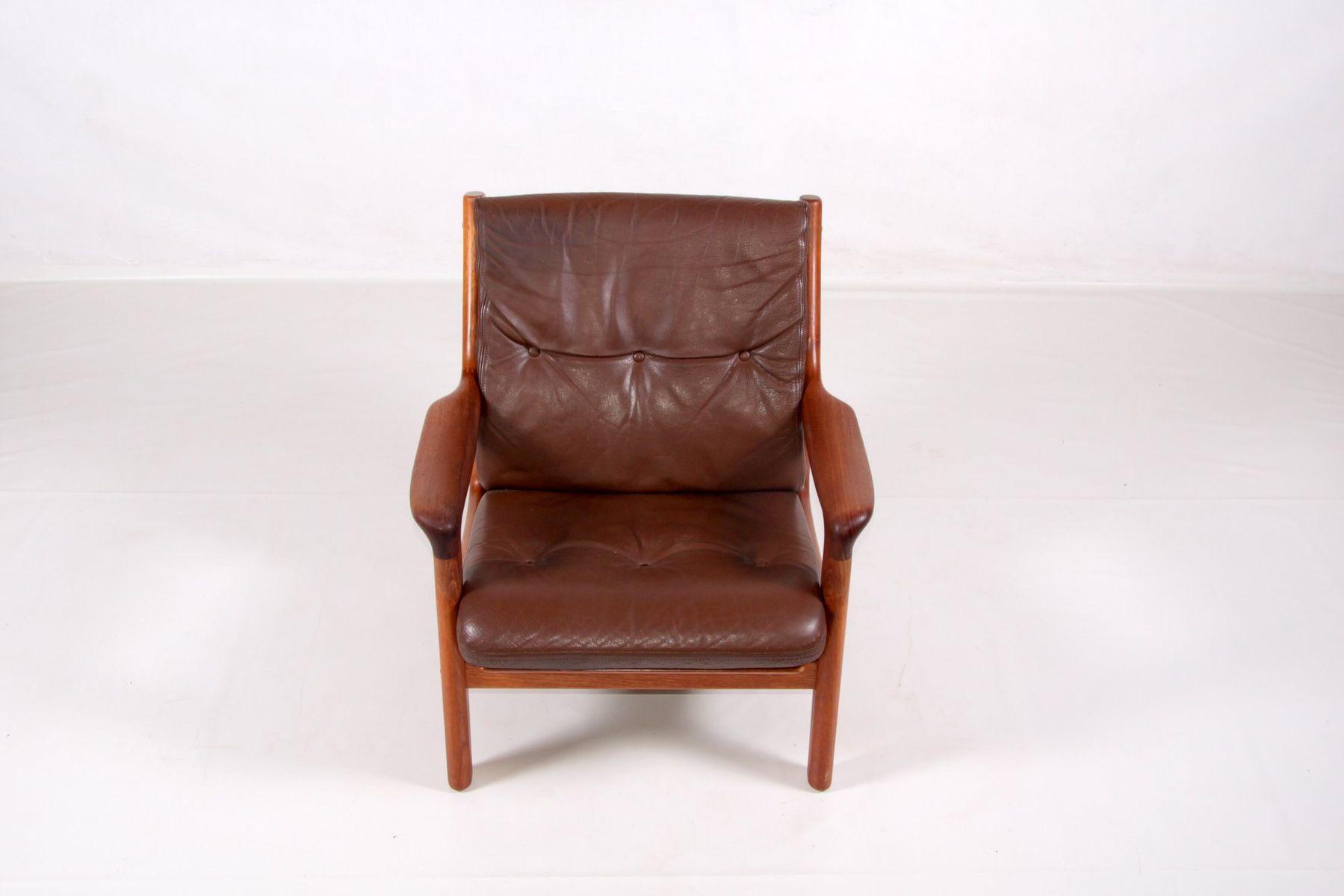 Teak & Leather Armchair by Gustav Thams for Vejen