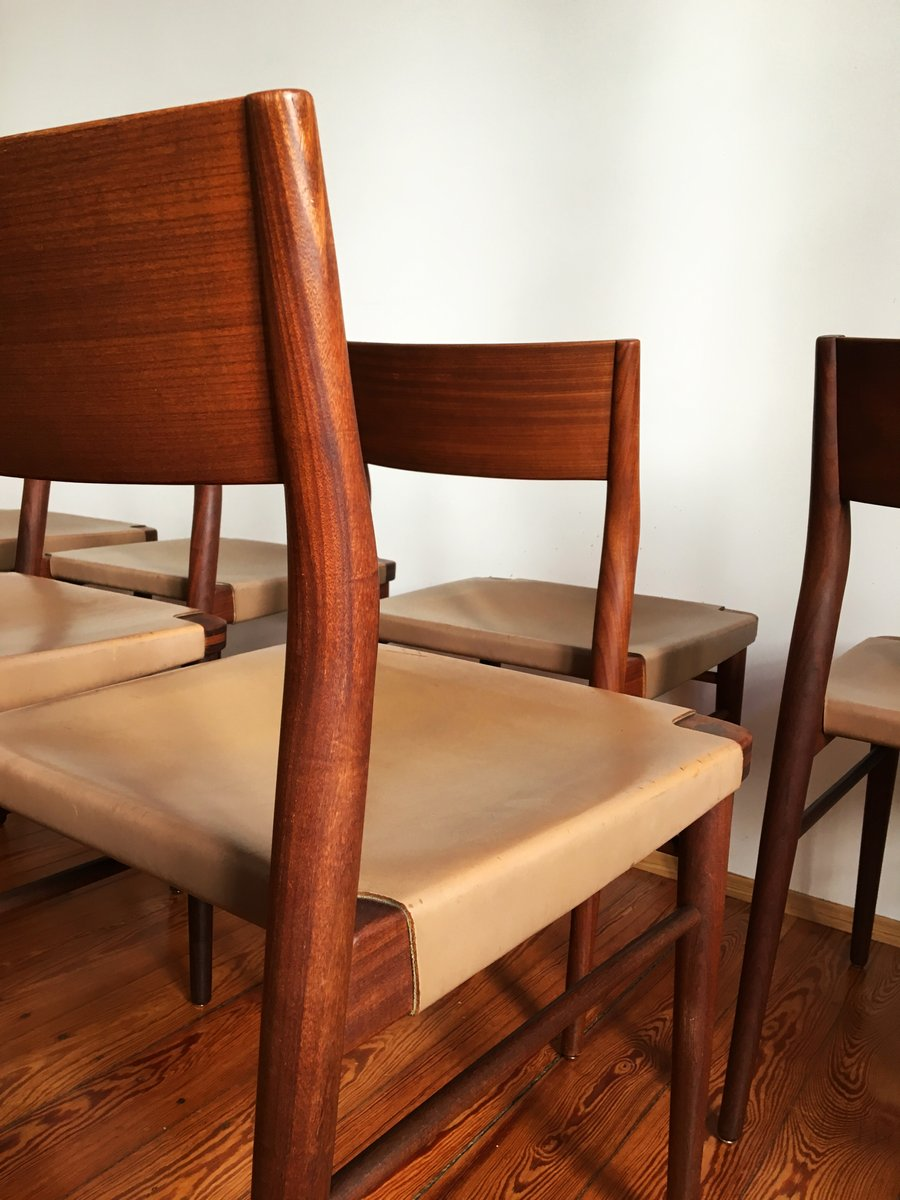 Vintage Teak And Leather Dining Chair By Georg Leowald For