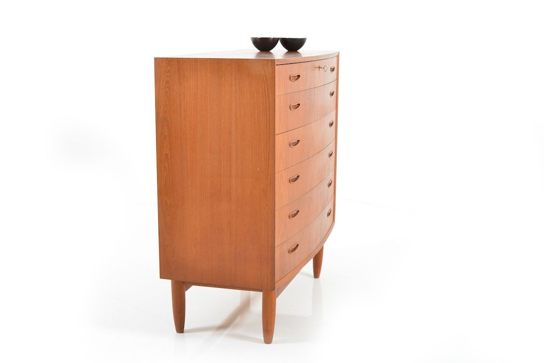 d nische mid century teak kommode mit abgerundeter front. Black Bedroom Furniture Sets. Home Design Ideas