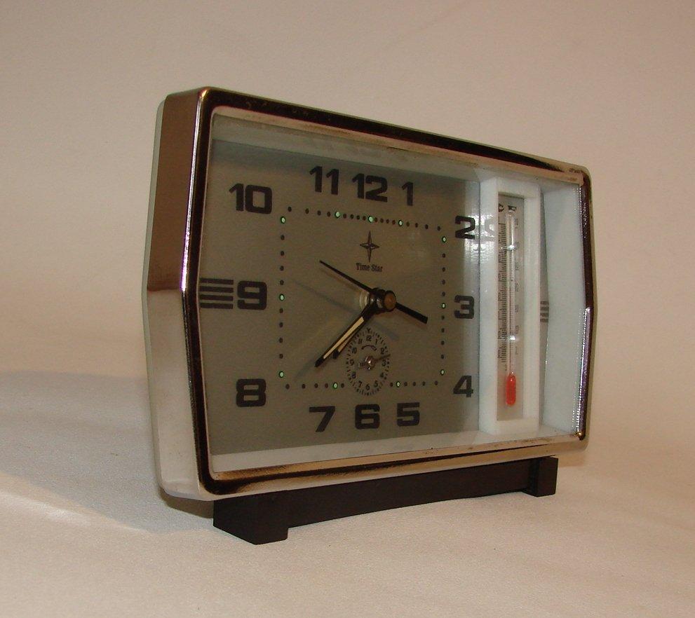 uhr mit thermometer von time star 1970er bei pamono kaufen. Black Bedroom Furniture Sets. Home Design Ideas