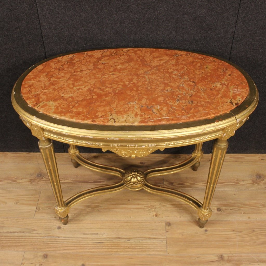 Marble Topped Gilt Coffee Table C 1920