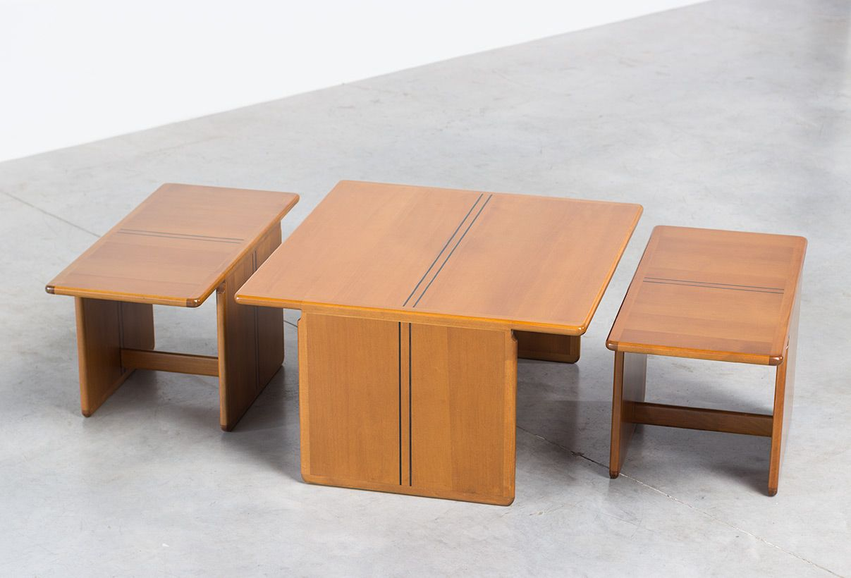 Coffee table with side tables by tobia scarpa and afra for Coffee tables b m