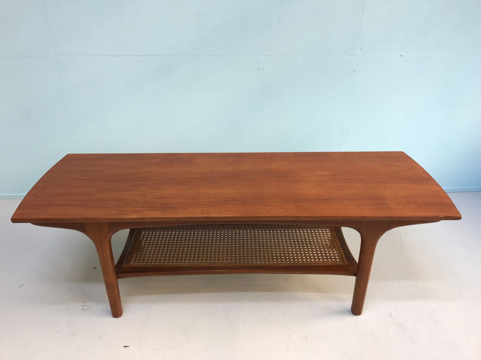 Coffee Table Rattan Mid Century Vintage Coffee Table With Rattan Magazine Rack For
