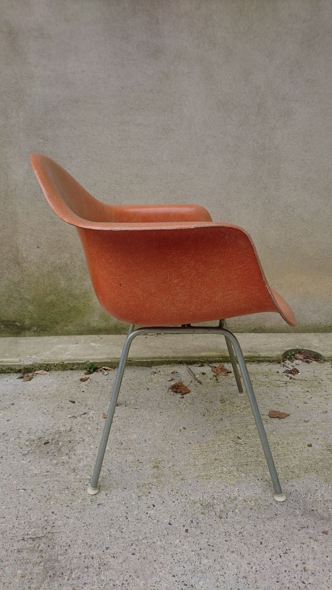 Vintage eames chair - Vintage Orange Dax Chair By Charles Ray Eames For Herman Miller 1950s For Sale At Pamono