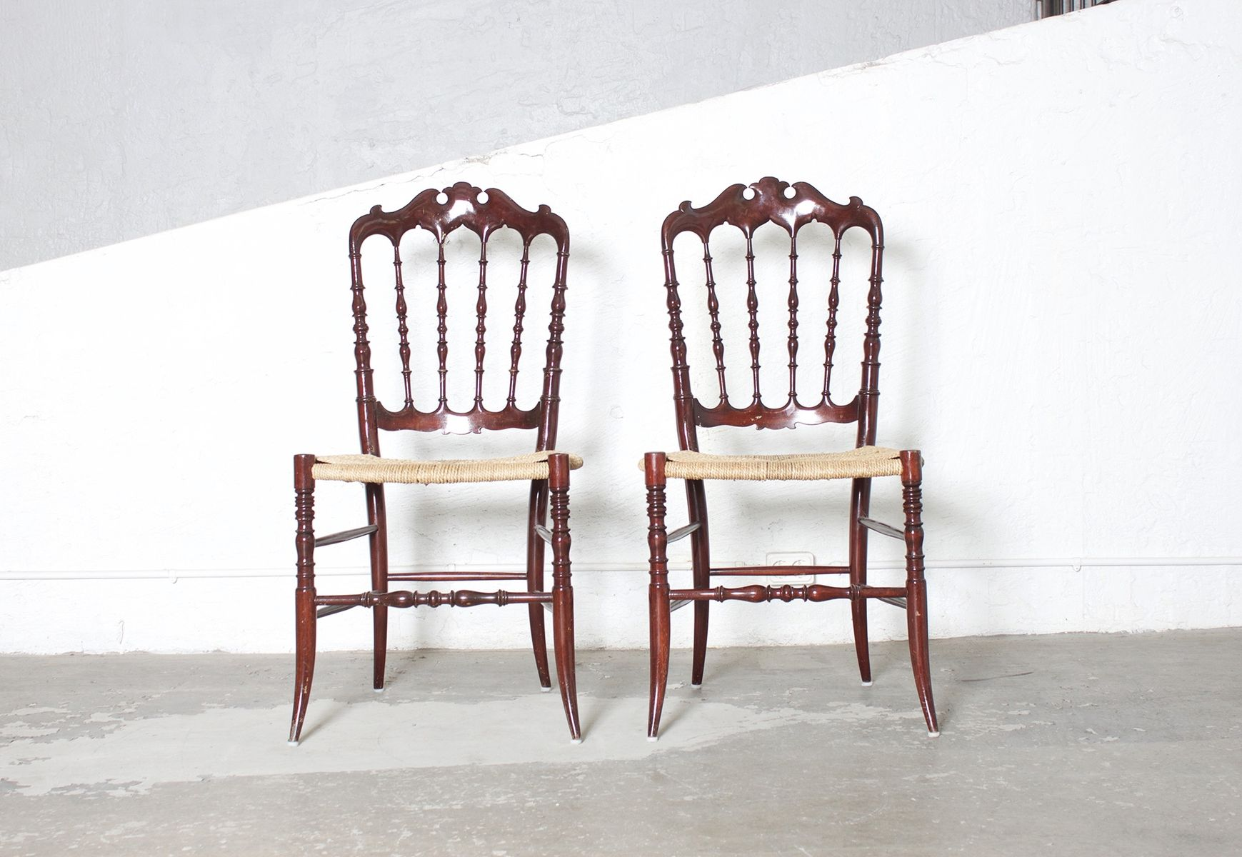 Antique Chiavari Chairs with Woven Cane by Giuseppe Gaetano Set
