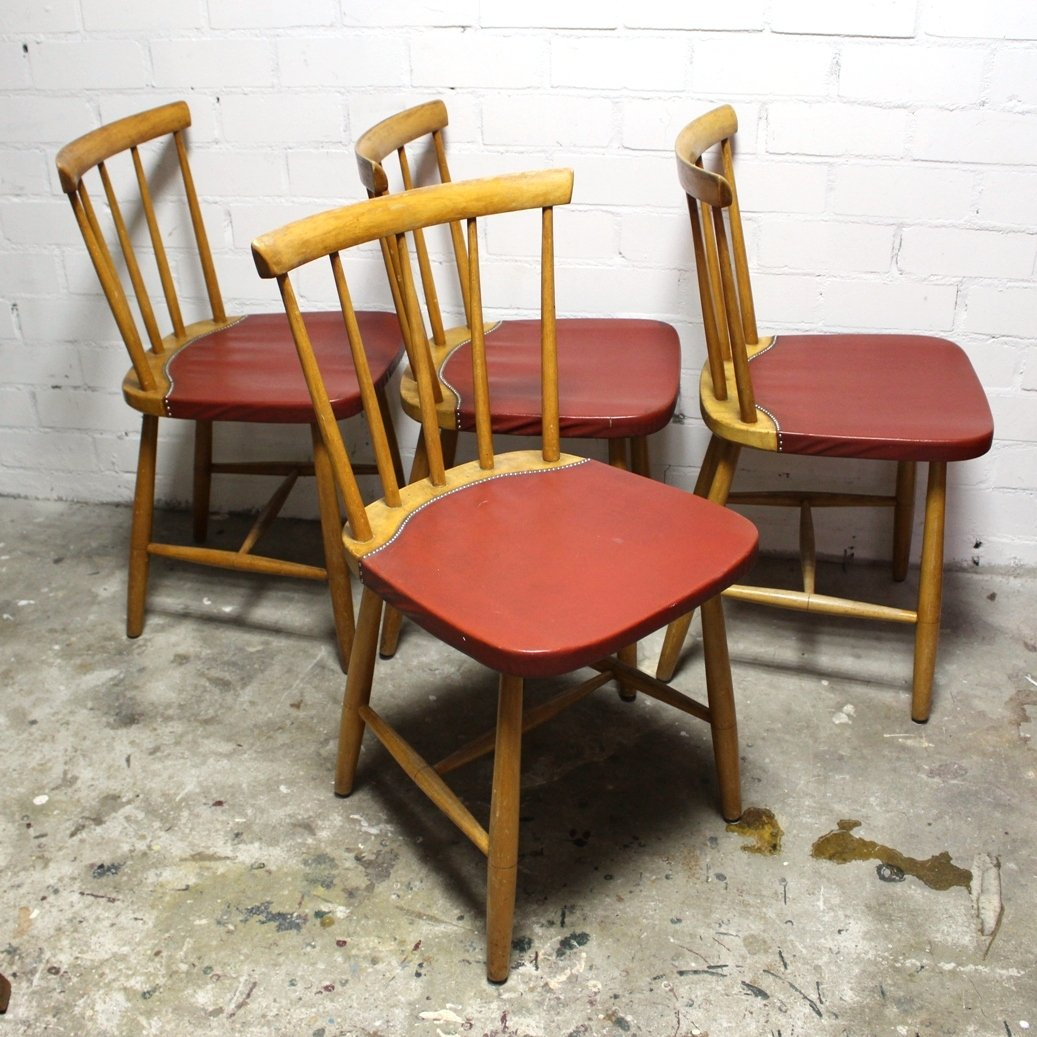Mid century vintage dining chairs 1960s set of 4 for for Classic mid century chairs