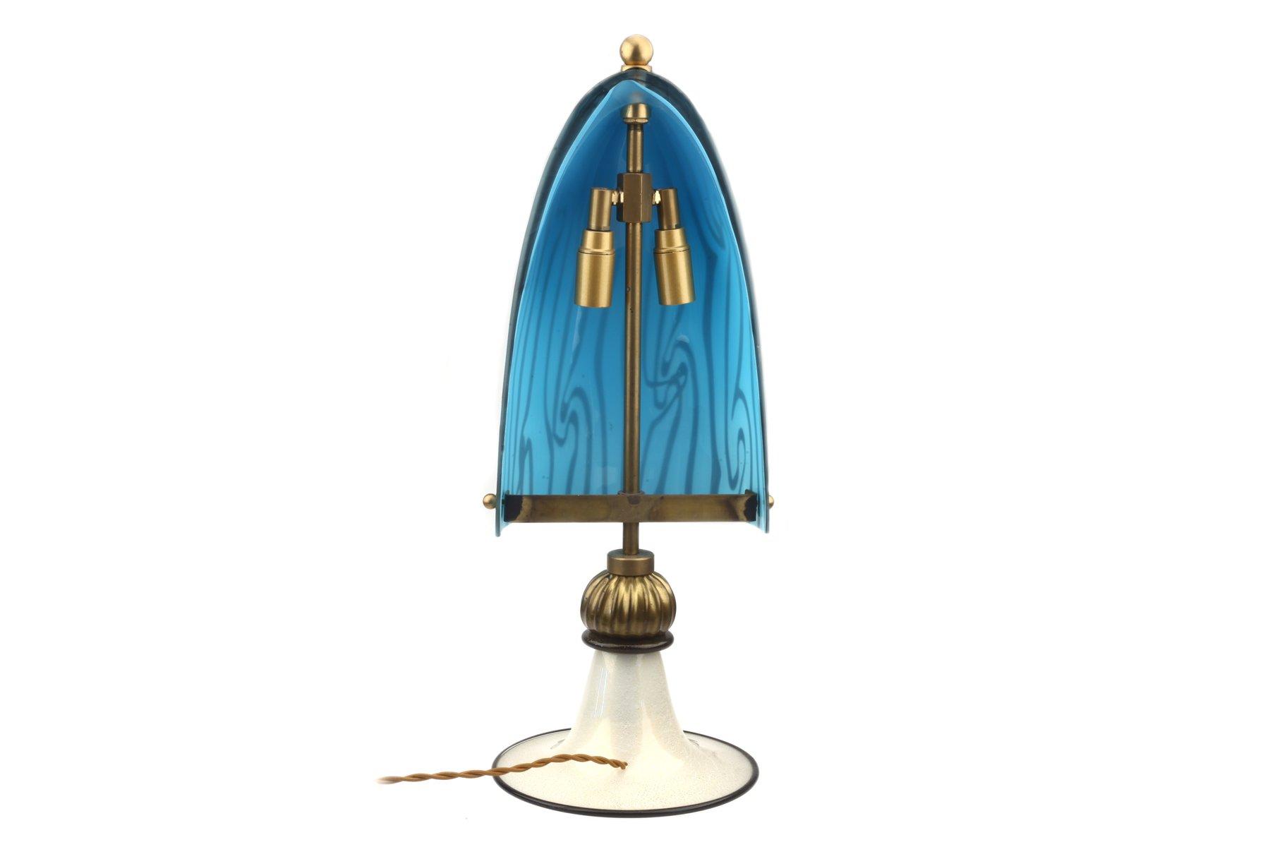 lampe de table en verre murano avec feuille dor e en vente sur pamono. Black Bedroom Furniture Sets. Home Design Ideas
