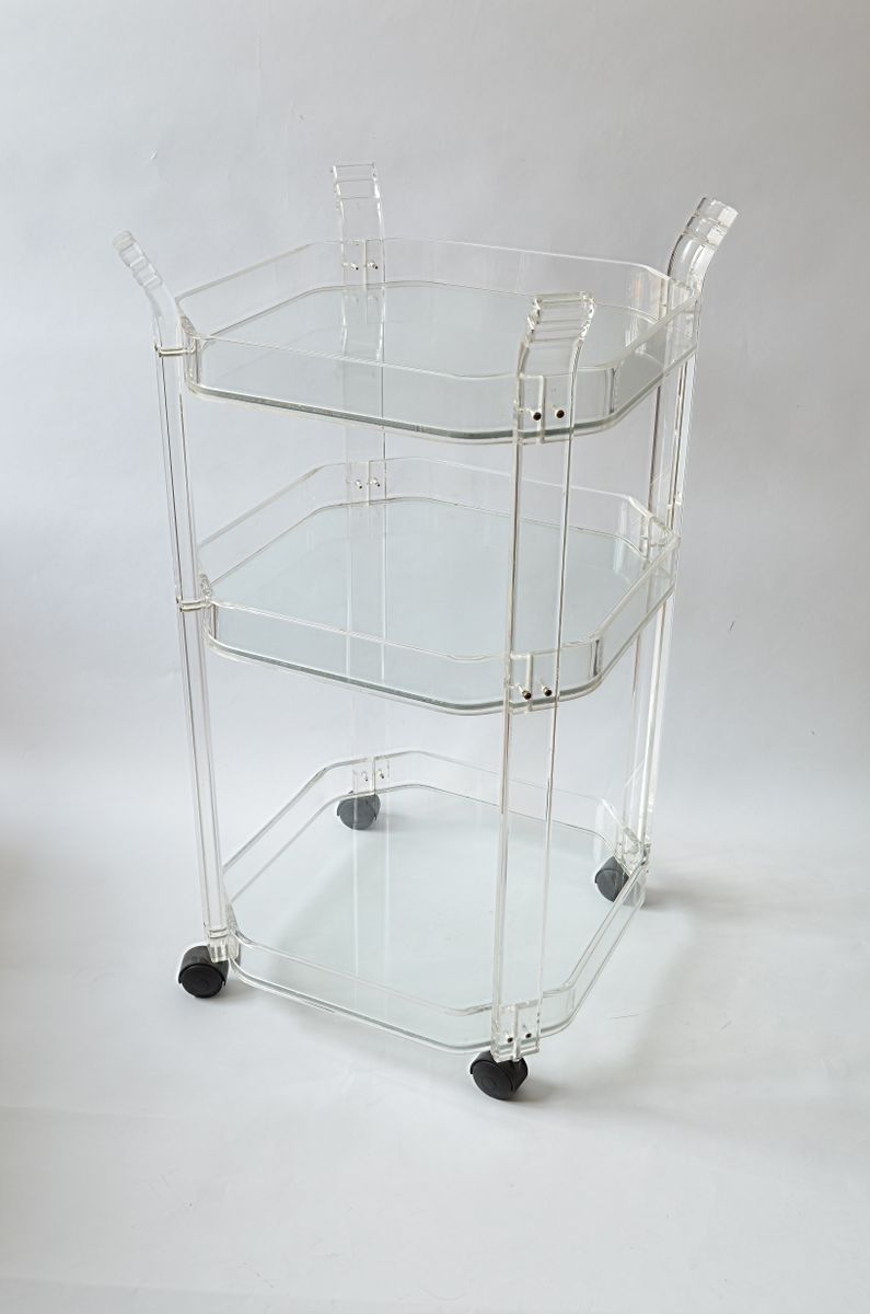 vintage plexiglas three tiered bar trolley for sale at pamono. Black Bedroom Furniture Sets. Home Design Ideas