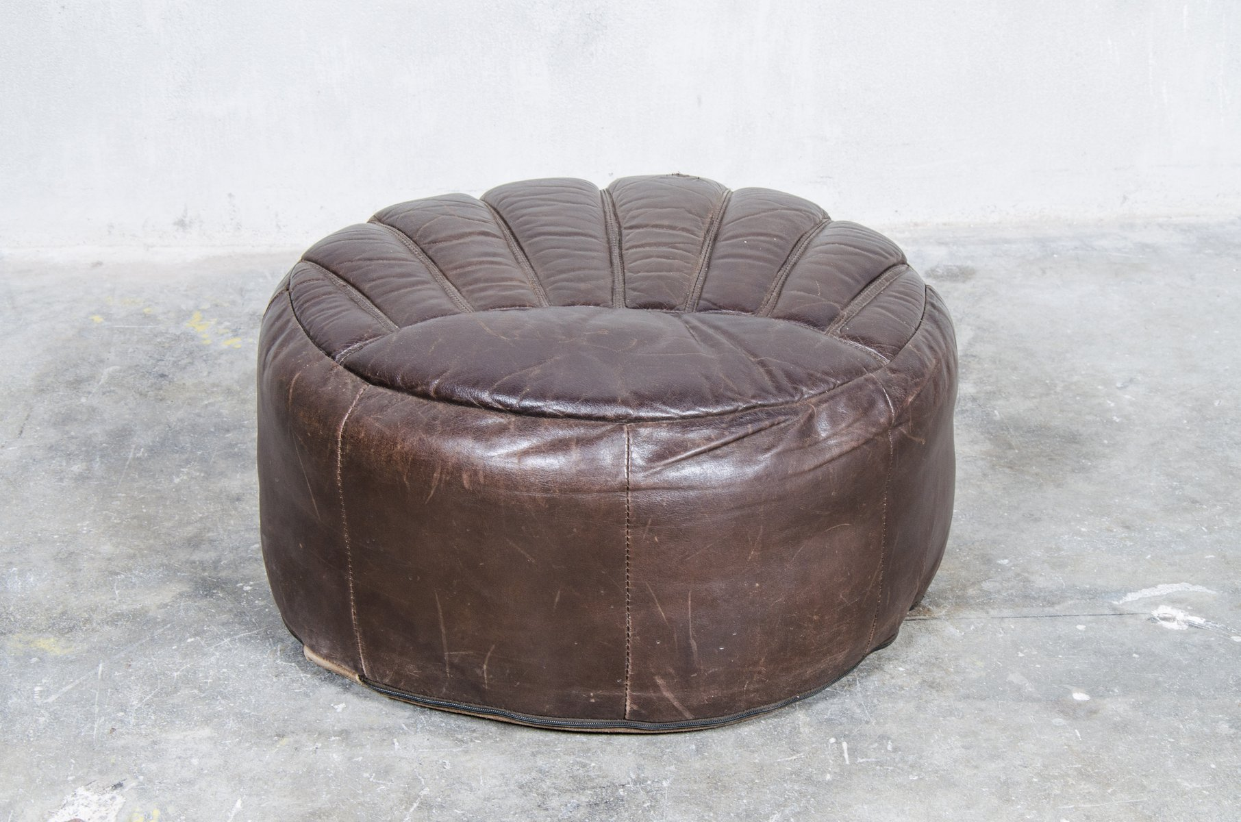 large dark brown leather pouf 1960s for sale at pamono. Black Bedroom Furniture Sets. Home Design Ideas