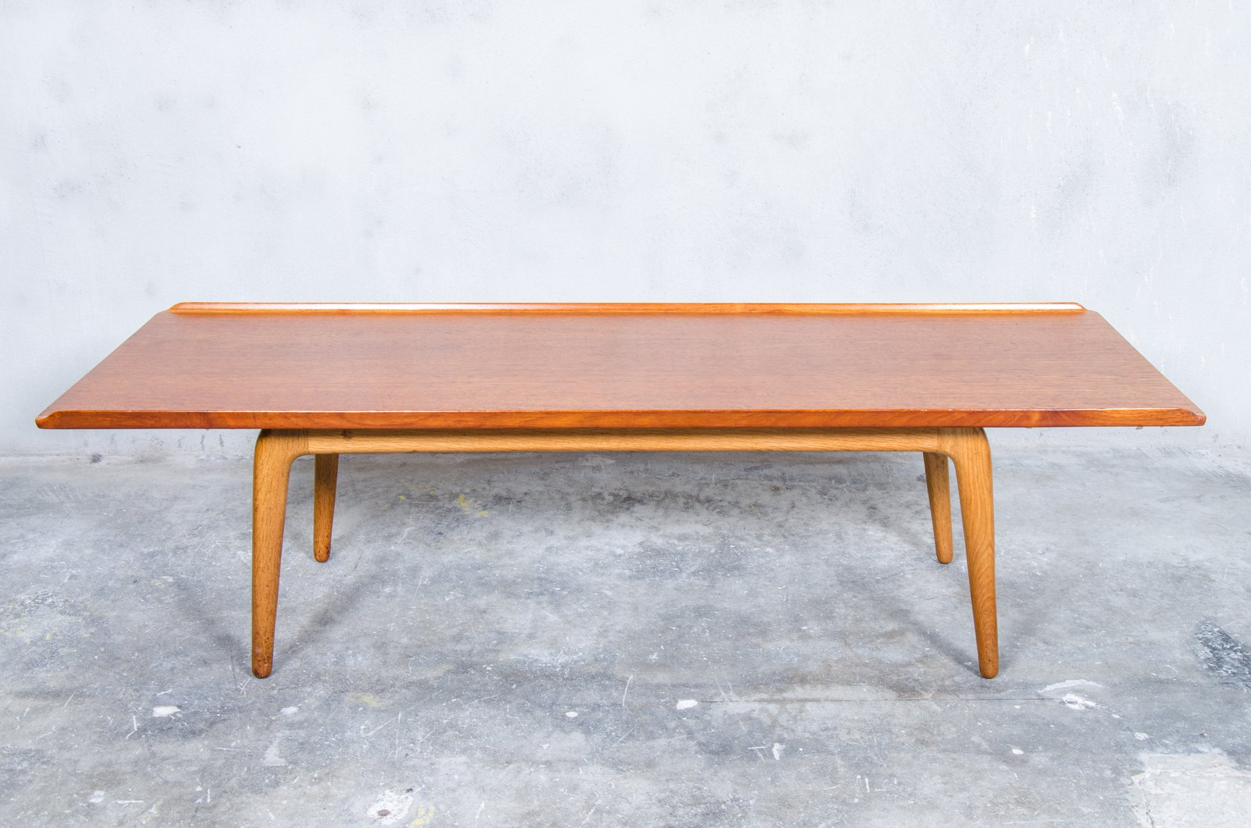 Large Teak Oak Coffee Table By Aksel Bender Madsen For Bovenkamp 1960s For Sale At Pamono
