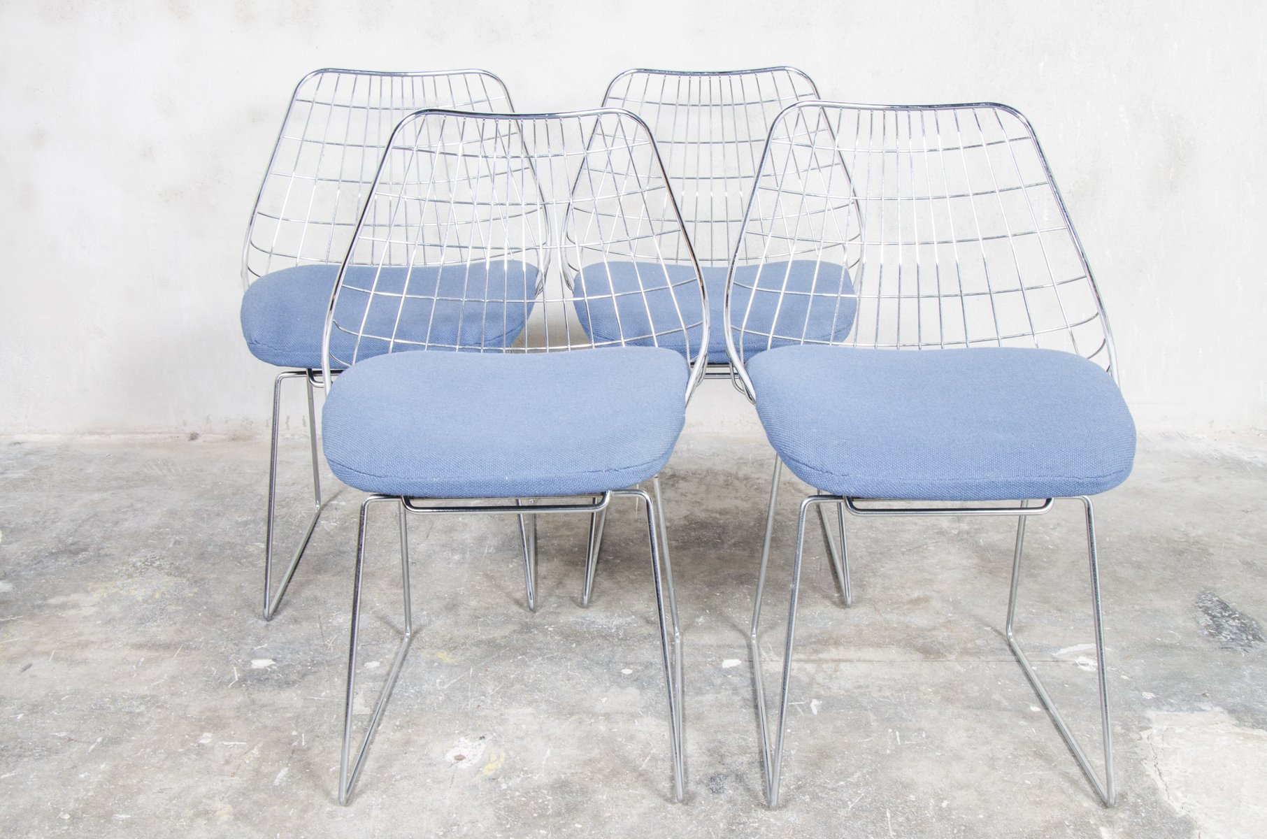 SE05 Wire Dining Chairs by Cees Braakman for Pastoe 1950s Set of
