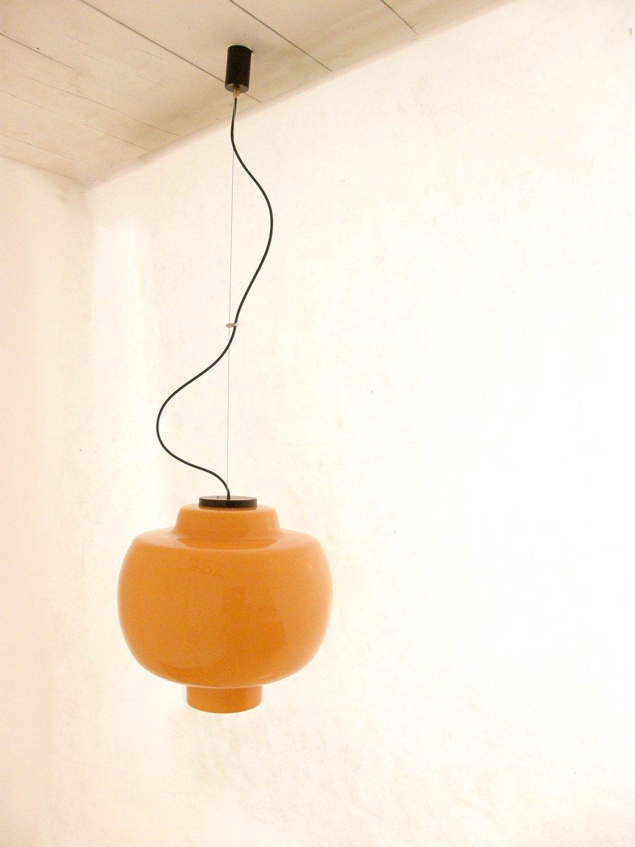 Large Vintage Orange Glass Pendant Lamp For Sale At Pamono