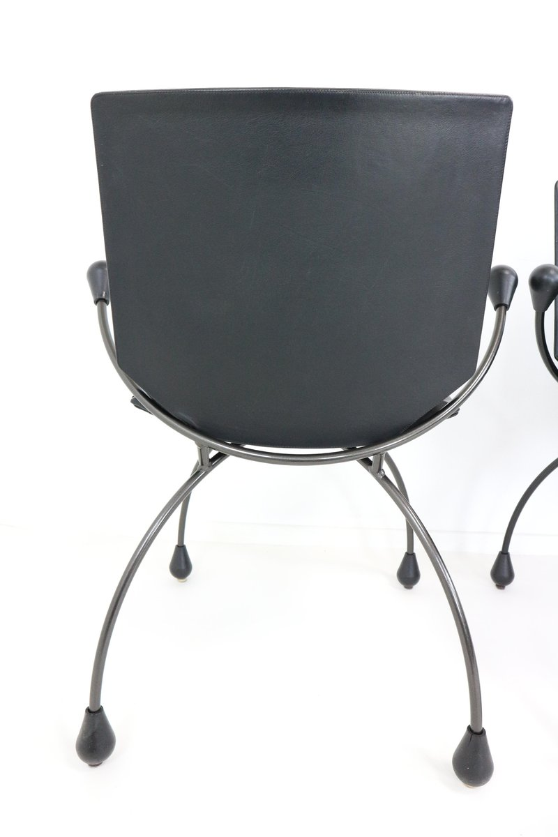 Black leather dining chair 1980s for sale at pamono for Black dining chairs for sale