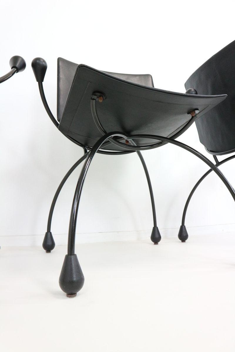 Chaise de salle manger en cuir noir 1980s en vente sur - Chaise salle a manger cuir noir ...