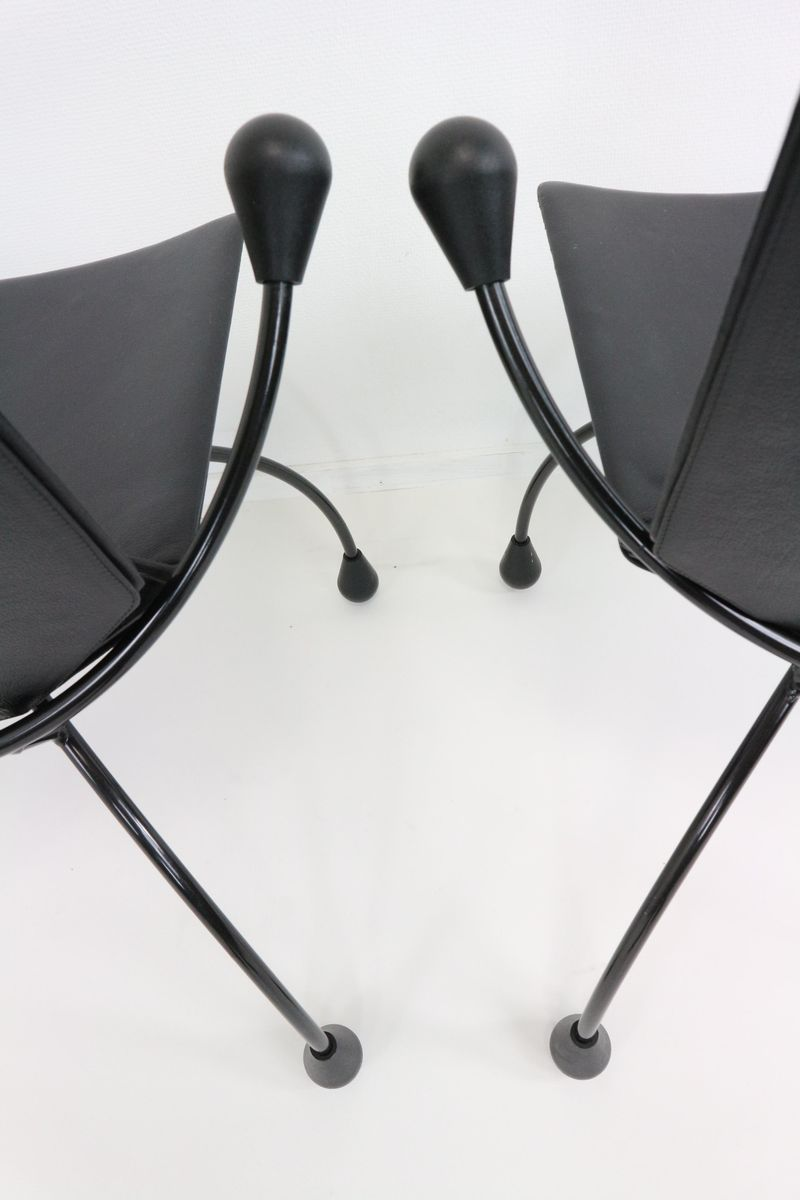 Black leather dining chair 1980s for sale at pamono for 1980s chair