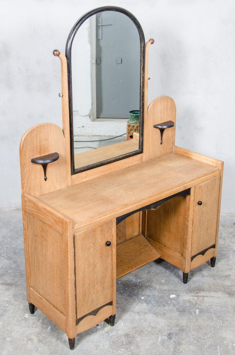 niederl ndischer art deco frisiertisch mit spiegel 1930er bei pamono kaufen. Black Bedroom Furniture Sets. Home Design Ideas
