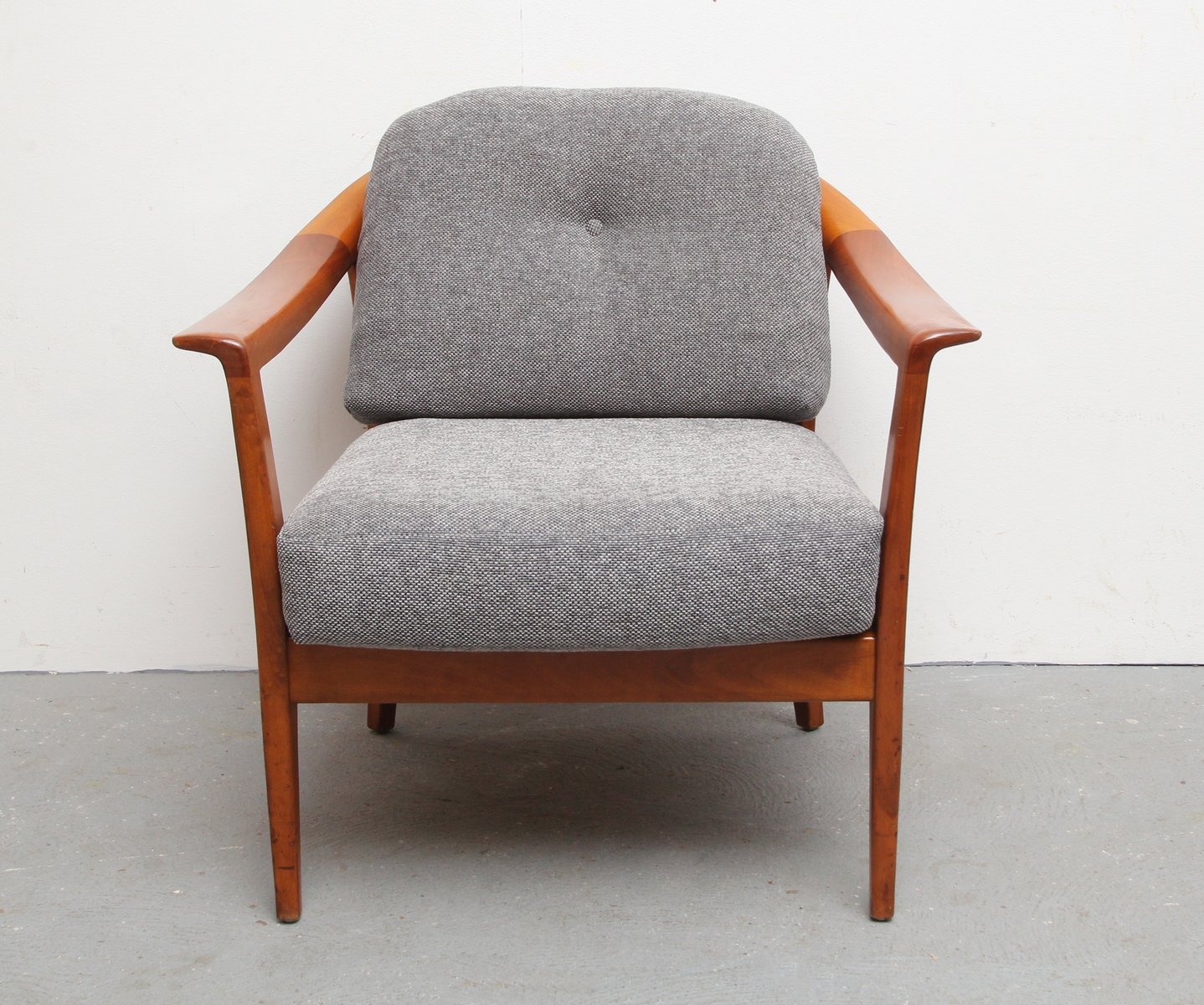 cherry armchair with gray upholstery from wilhelm knoll s for  - cherry armchair with gray upholstery from wilhelm knoll s