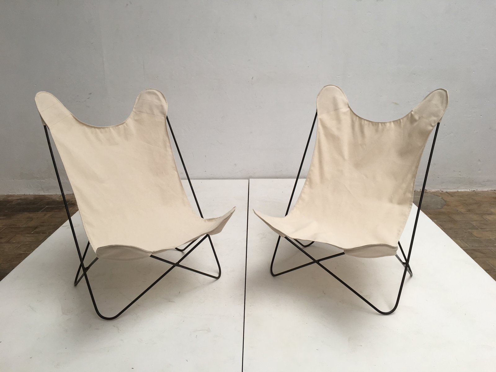 butterfly chairs with canvas seats by jorge ferrari hardoy, 1960s