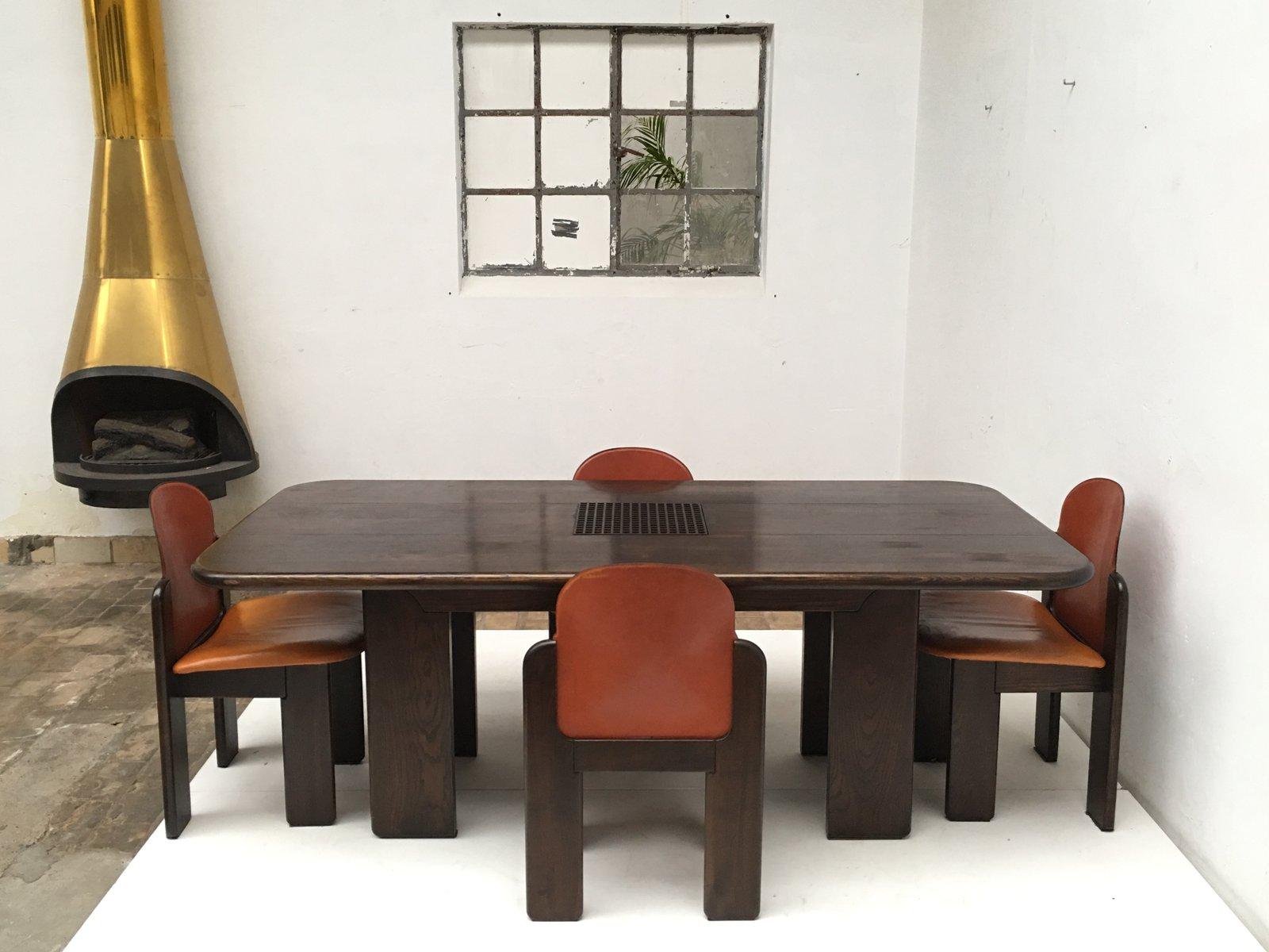 set de salon en bois massif et en cuir 1970s - Salon En Bois Massif Cuire