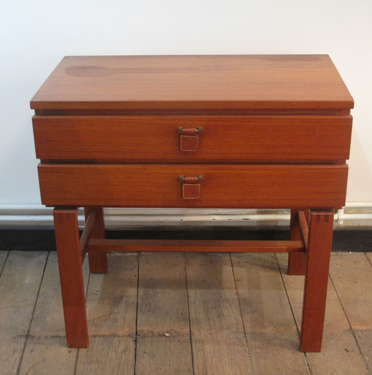 Danish Teak Bedside Table with Two Drawers